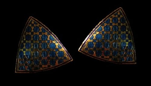 Shield shaped gold tone with enamel earrings. 1980s