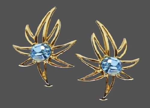 Shooting star clip earrings. Blue rhinestones, gold plated