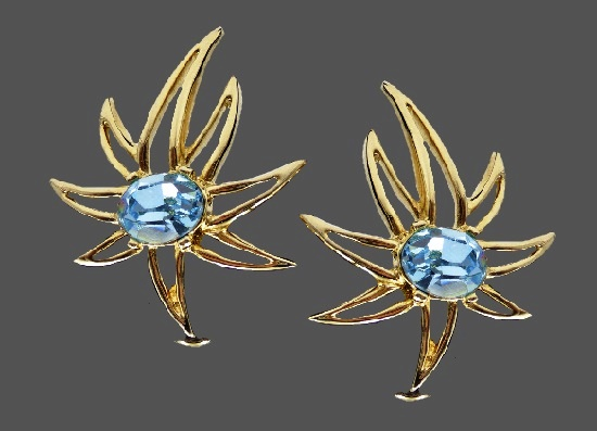 Shooting star clip earrings. Blue rhinestones, gold plated