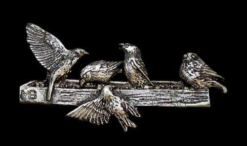 Sparrows on a feeder vintage brooch. Pewter. 5,8 cm. 1990s