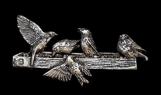 Sparrows on a feeder vintage brooch. Pewter. 5,8 cm. 1990s