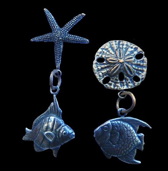 Starfish dollar fish dangle earrings