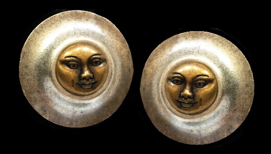 Sun Face Pierced (Post) Earrings. Copper and silver tone metal. 1994