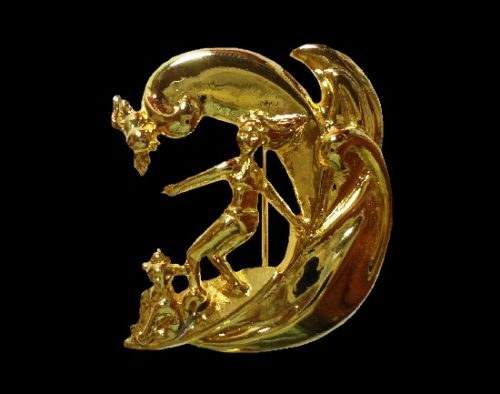 Surf boarder girl with a dog riding the wave pin of gold tone