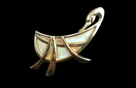 Swan brooch. Gold tone metal, abalone shell