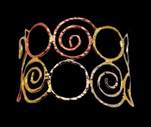Swirl cuff bracelet. Hammered brass copper