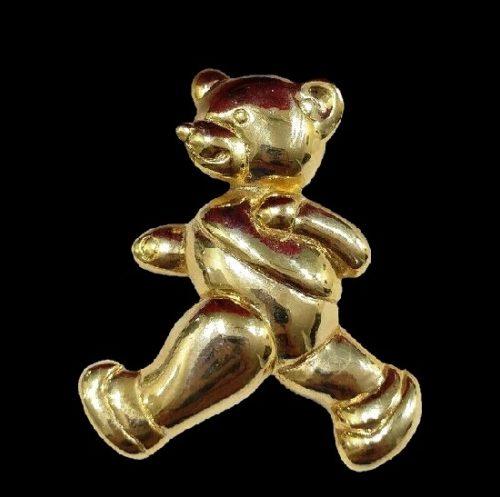 Teddy bear gold tone brooch pin