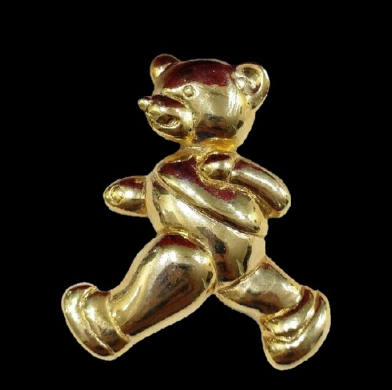 Teddy bear gold tone brooch pin
