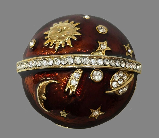 The Sun, the Moon, Saturn and small planets celestial brooch. Gold tone metal, rhinestones, red enamel