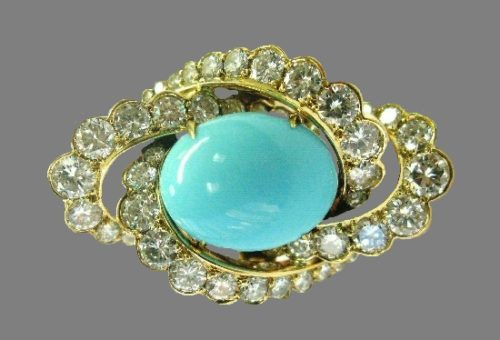 Turquoise and diamond ring, 18Kt gold