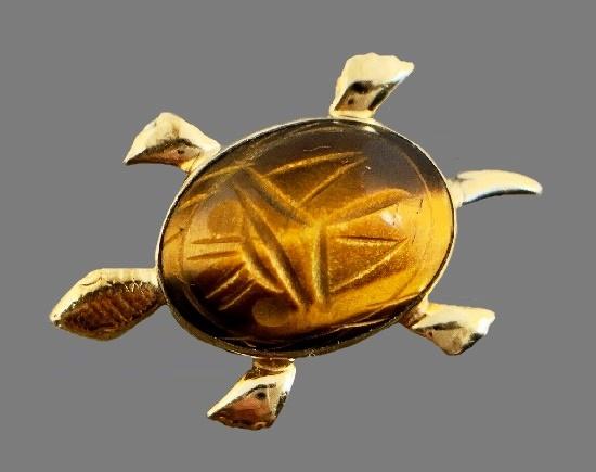 Turtle Brooch. 12 K gold filled, carved tiger's eye scarab stone