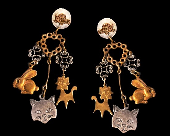 Turtle Cat Bunny Puppy Heart Dangle Earrings. Gold and silver tone metal alloy. 1993