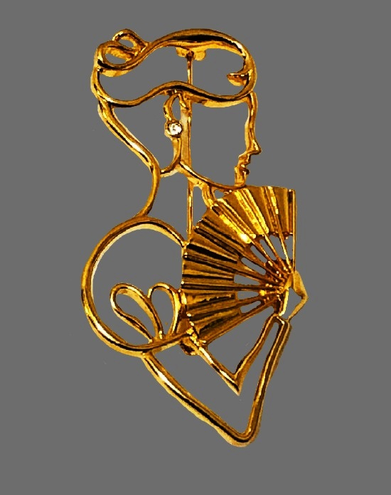 Victorian Lady with a Fan brooch. Gold tone metal, crystal