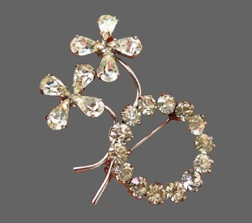 Wreath and flowers sterling silver champagne crystals brooch