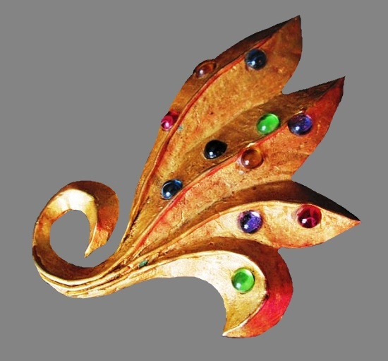 14K Gold Plated Leaf brooch, glass cabochons