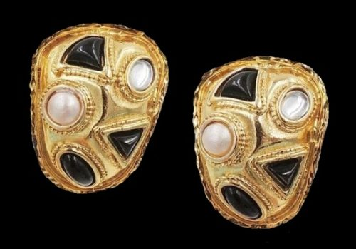 1980s goldtone faux-onyx and faux-pearl clip back earrings