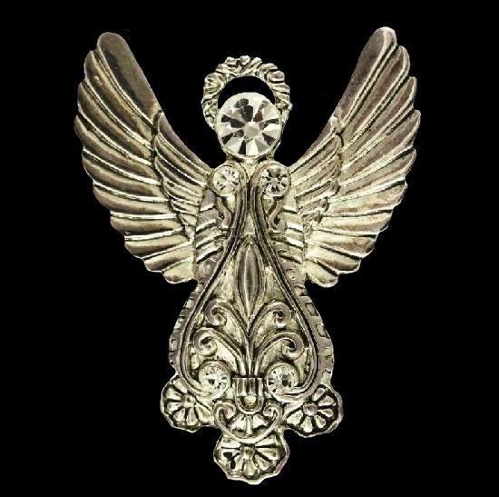 Angel brooch pin. Silver tone metal, rhinestones