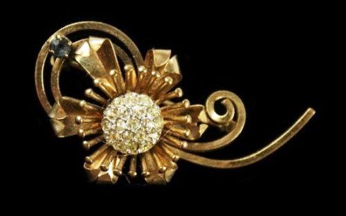 Art Deco 12K GF Gold Filled Rhinestone Floral pin brooch