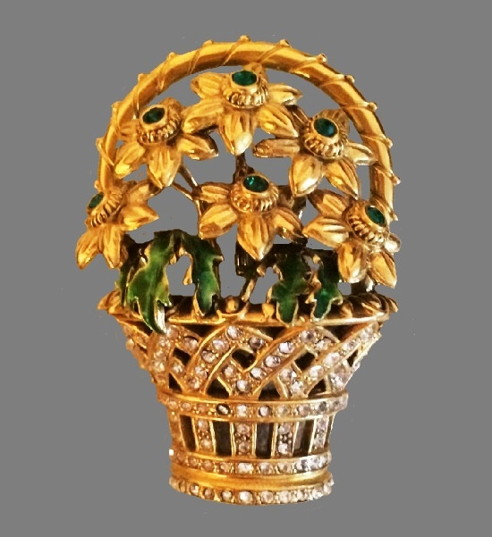 Basket of Gold Daffodils brooch, inspired by Spring Flower egg by Faberge. 24 K Gold filled, enamel, crystals, 5.5 cm. 1980s
