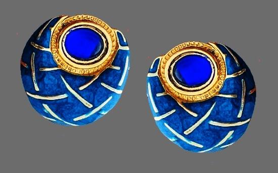 Beautiful Sapphire Blue Rhinestone Enamel Earrings