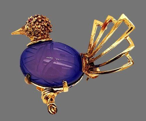 Bird brooch. Gold filled, blue cabochon