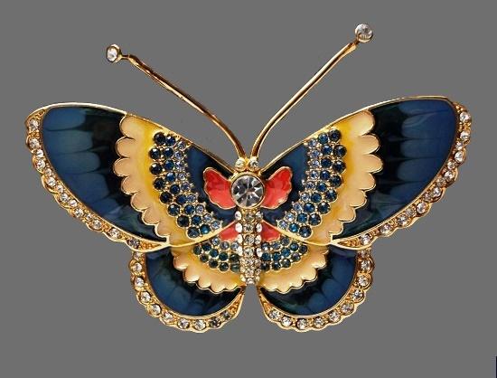 Blue butterfly brooch. 6.3 cm. Gold tone metal, enamel, rhinestones. 1990s