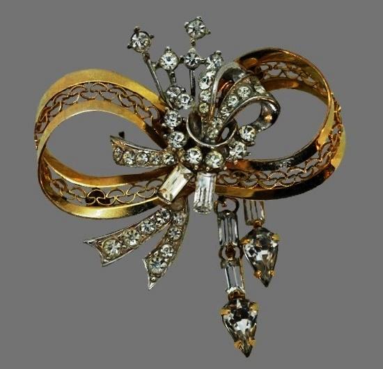 Bow brooch. Sterling (silver, rhinestones. 1950s