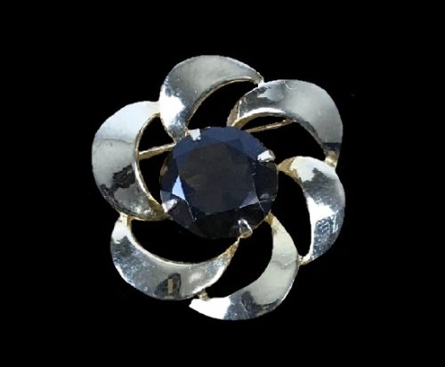 Brown rhinestone silver tone flower design pin