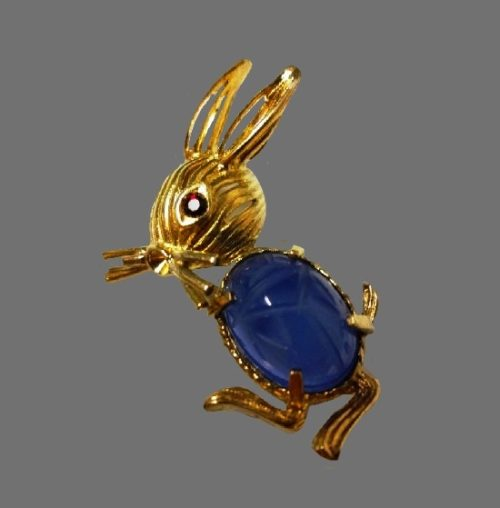 Bunny brooch. Vermiel Sterling Silver, gold filled, blue cabochon