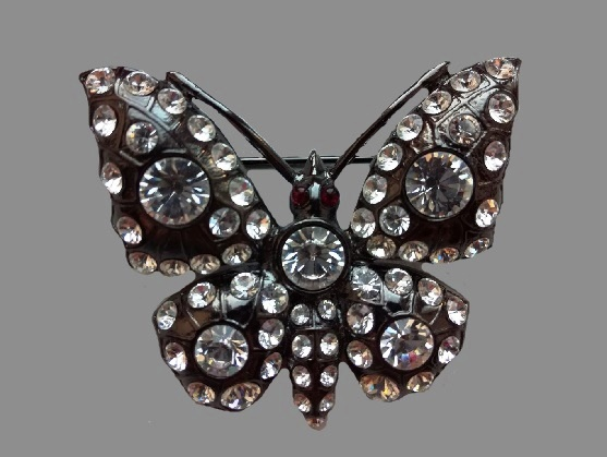 Butterfly brooch. Jewelry alloy, Swarovski crystals. 4.5 cm, 1990s