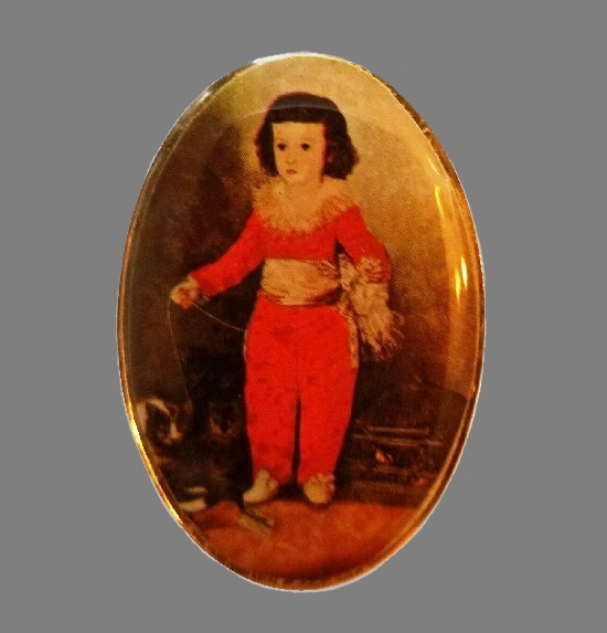 Signed DaVinci vintage costume jewelry. Cameo brooch with a miniature painting of a boy with a dog. Gold plated