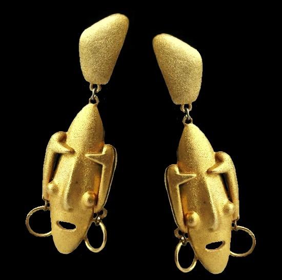 Carnival Mask gold tone earrings