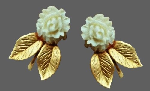 Carved rose gold filled earrings
