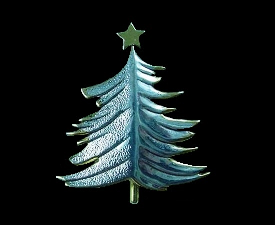 X-mas Tree pin of silver and gold tone