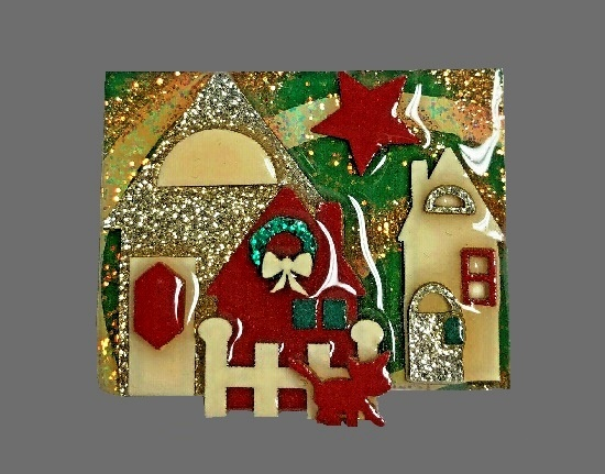 Christmas decorated Houses pin