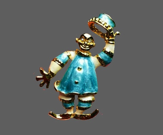 Clown tipping hat brooch. Gold tone metal, enamel