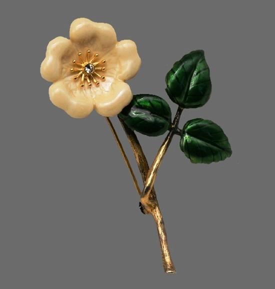 Dogrose brooch. Gold filled, enamel. 6 cm. 1980s