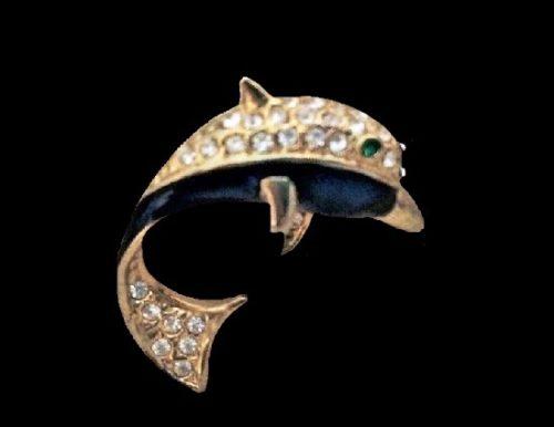 Dolphin pin. Gold tone alloy, enamel, rhinestones