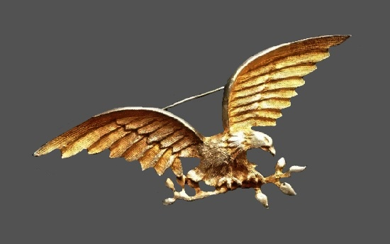 Eagle brooch. Textured gold tone metal. Early 1960s