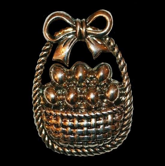 Easter Basket Silver Tone pin