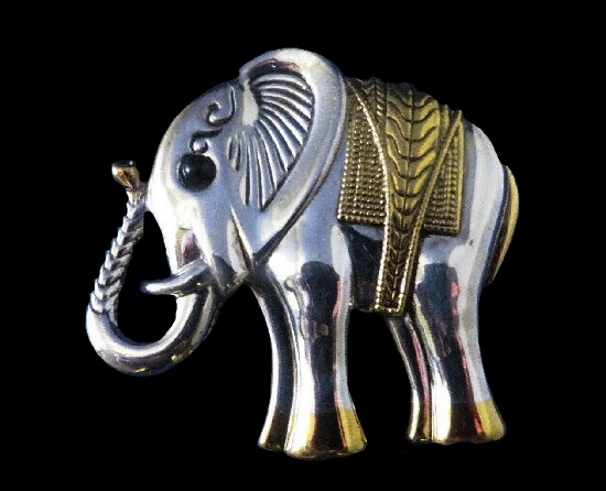 Elephant brooch. Silver and gold tone textured metal