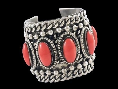Faux coral and silver statement bracelet