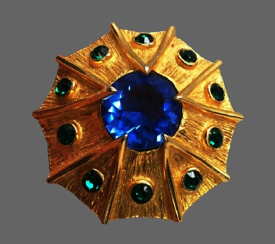 Faux sapphire gold tone brooch pin