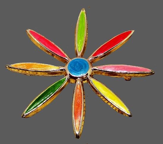 Flower brooch. Gold tone jewelry alloy, multicolor enamel. 1970s