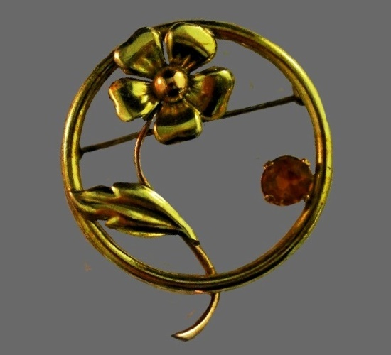 Flower brooch. Sterling silver, gold plated, glass. 1940s