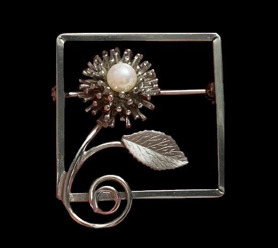 Flower inside square frame vintage brooch. Cr Co sterling signed