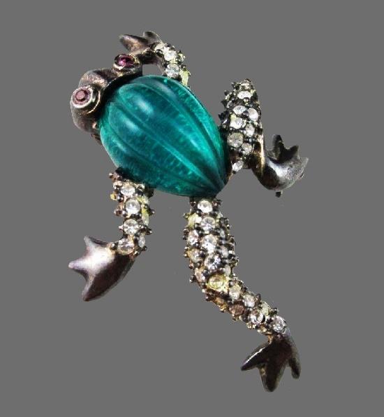Frog brooch. Green lucite, rhinestones, silver tone alloy