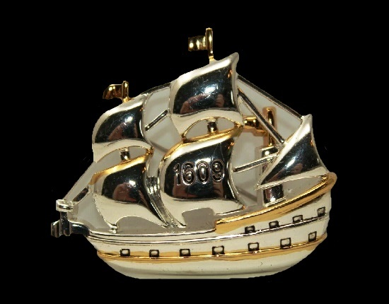Galleon Ship brooch pin. Silver and gold tone, enamel