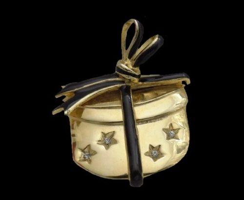 Gift Box bow brooch. Gold tone metal, rhinestones, black enamel