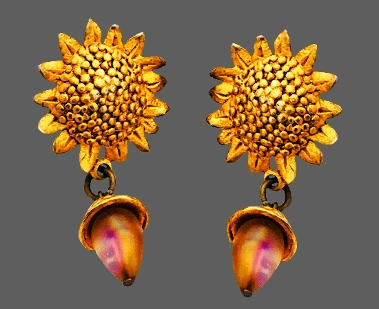 Gold Sunflower Dangle Bead Earrings